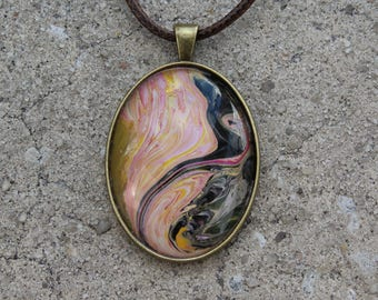 "2"" Pendant with Necklace featuring Original Art in red, yellow, white, black"