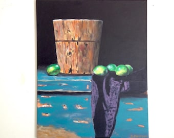 Original acrylic painting / still life painting / limes and a bucket