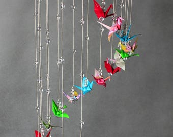 "Colorful Cylinder-Shaped Mobile, Origami Cranes ""Colorful Streamer"", Oriental"