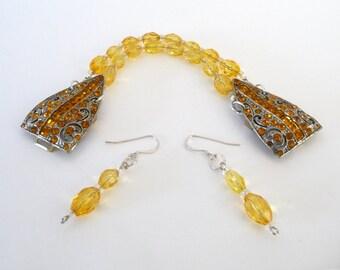 Handmade Bracelet Earrings One of a Kind Repurposed 1920s Art Deco Rhinestone Buckle Amber Citrine Color Rhinestones 1920s