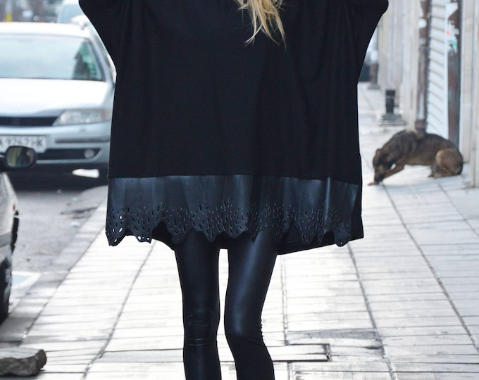 Black Oversized Casual Top, Loose Blouse With Leather, Extra Long Sleeves Tunic, Plus Size Tunic by SSDfashion