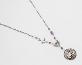 Steampunk Necklace Vintage watch movement silver bird charm amethyst purple crystal flower pendant Statement Necklace Steampunk Jewelry 2574