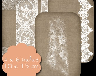 9 Burlap & Lace Tags Set 1