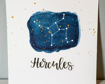 Hercules Constellation Painting - Galaxy, Night Sky, Stars, Original Watercolor