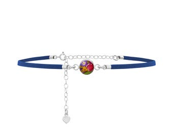 Fashion Choker - Navy Strap - Mixed flowers - Round by Shrieking Violet®