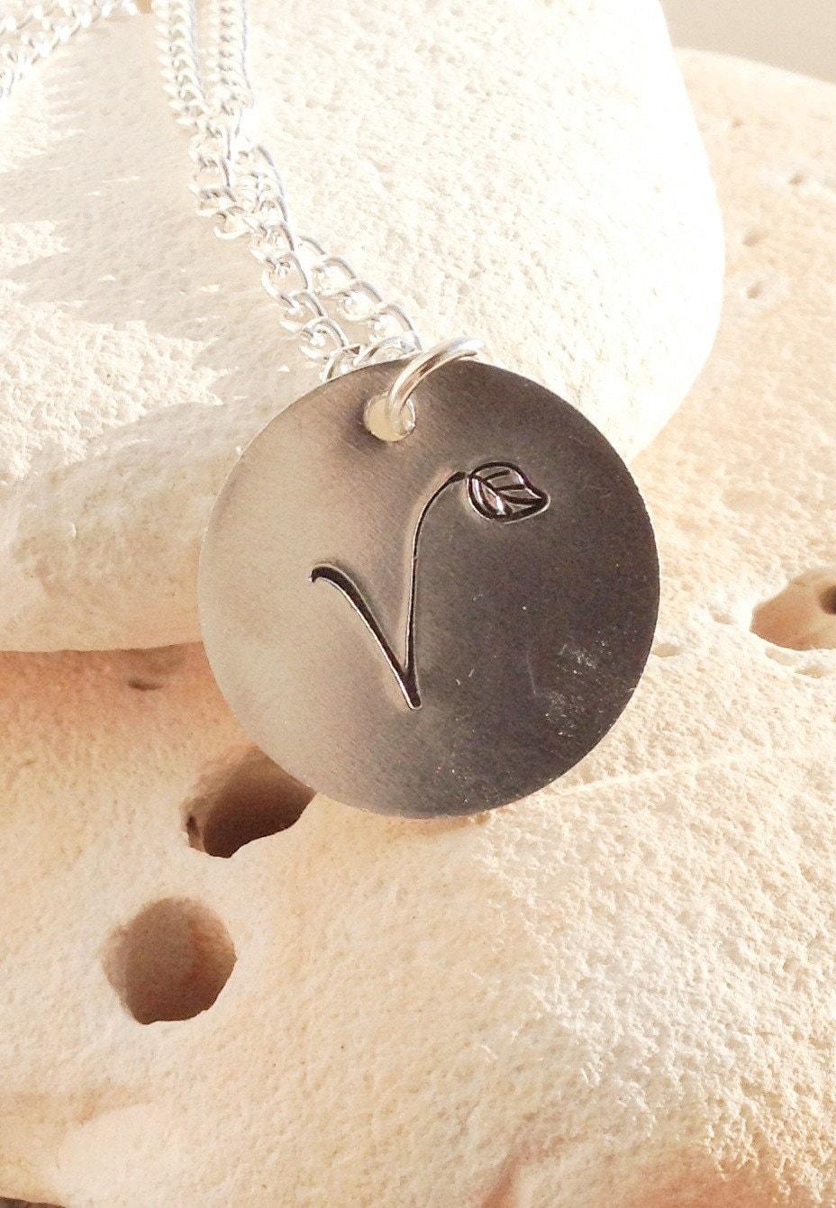 V for vegan necklace - vegan jewellery - subtle vegan message - uk vegan -  with leaf detail on 16
