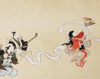 The Dance Nunozarashi Itcho Hanabusa Japanese Woodblock Print 1930s