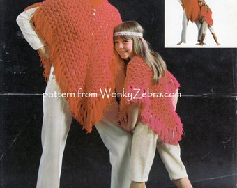 Vintage poncho crochet look knitting mother and daughter pattern Knit Pattern PDF 810 from WonkyZebra