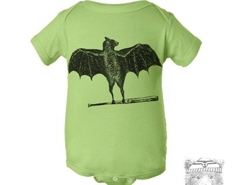 Baby One-Piece BATS Eco screen printed (+ Color Options) FREE Shipping