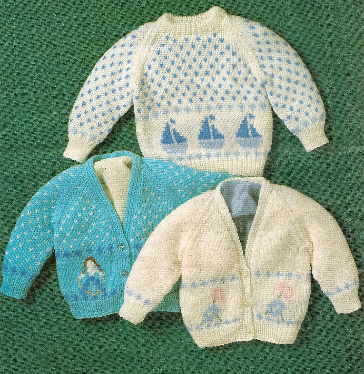 Knitting Pattern Baby\'s Sweater & Cardigans with Boat Girl or Flower ...