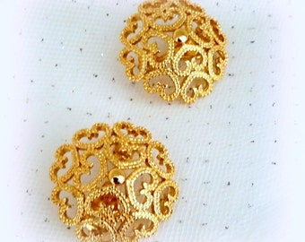 60s MONET Clip Earrings - Gold Tone Filigree Hearts - Classy