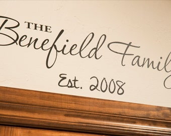 Custom Family Established - Wall Decal