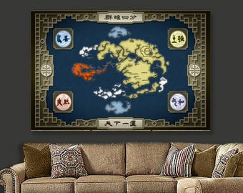 AVATAR : The Last Airbender (TLA) Aang | Avatar The Last Airbender Map | Avatar The Last Airbender World Map Framed Poster