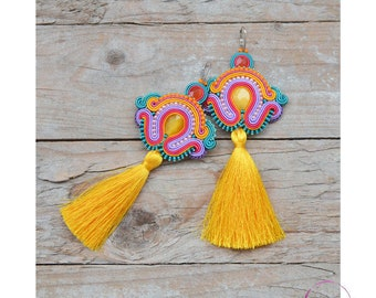 Oversized earrings Colourful with tassels extra long Multicolored boho festival style Tribal clothing Large huge jewellery Soutache jewelry