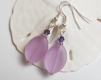 Light Purple Sea Glass Earrings, Sea Glass Jewelry, Seaglass Earrings, Seaglass Jewelry, Beach Glass, Beach Glass Earrings. Free US Ship