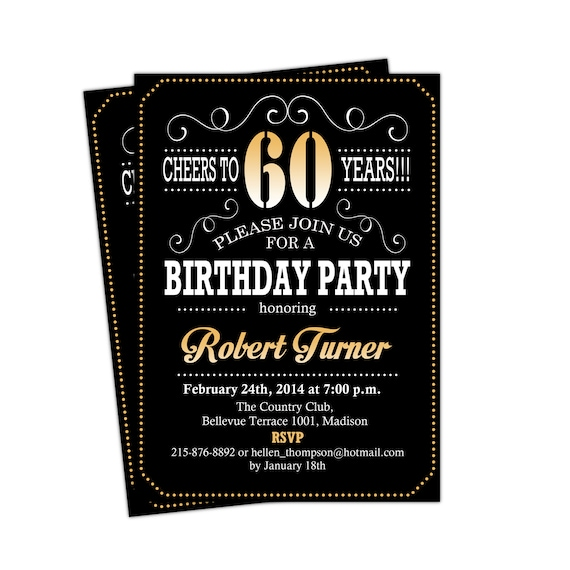 60th birthday invitation cheers to 60 years any age gold like this item stopboris Image collections