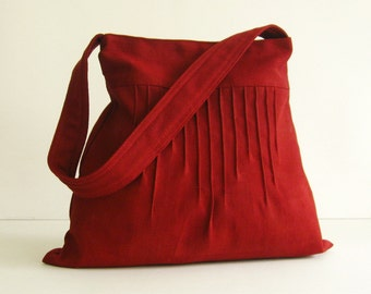 Sale  - Deep Red Hemp/Cotton Lines Bag - Shoulder bag, Diaper bag, Messenger bag, Tote, Travel bag, Women, Purse