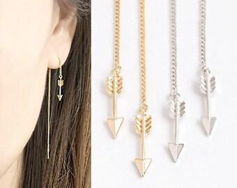 Tiny Arrow Ear Thread, Gold / Silver Chain Earrings, ET gj ej