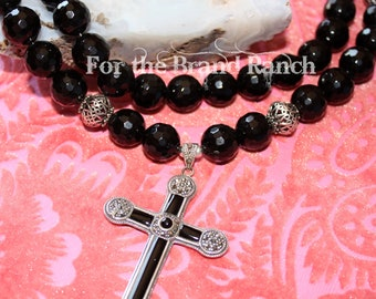 Onyx noir et Marquisite Cross Necklace - volet 2