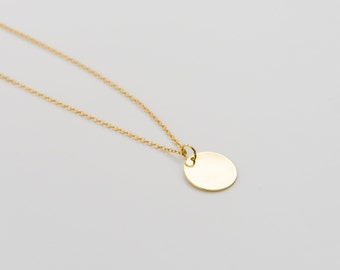 Shiny Gold Disc Necklace, Round Disc Necklace, Dainty Chain Necklace, Minimalist Necklace, Layering Necklace, Thin Necklace, Gift For Her