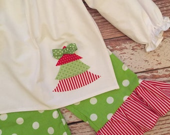 Holiday Ruffle Pant Outfit - Christmas Outfit - Ruffle Pant Outfit - Baby Girl/ Toddler Girl - Sizes 12M thru 4T