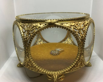 Vintage Repousse Ormulo Jewel Box Jewelry Casket Trinket Box Beveled Glass