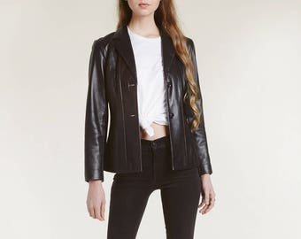 minimal patched leather jacket / perfect 90s jacket / unique straight stitched pieces / softest glove leather