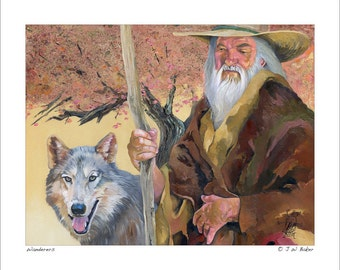"""Wizard and Wolf Print - """"Wanderers"""" - 8x10 Storytelling Illustration Reproduction"""