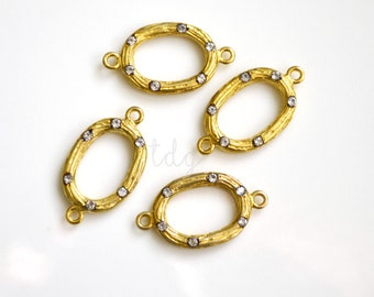 One Vermeil Gold Textured Hoop Connector with Inlaid White Topaz, 22x13mm