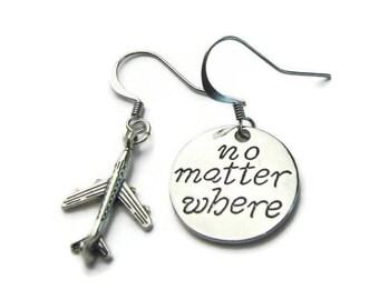 No Matter Where Earrings, Airplane Earrings, Travel Earrings, Traveler Earrings,World Traveler Earrings,Assymetrical Earrings,Travel Jewelry
