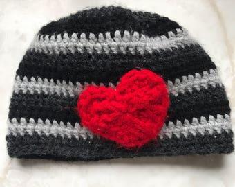 Striped Heart hat