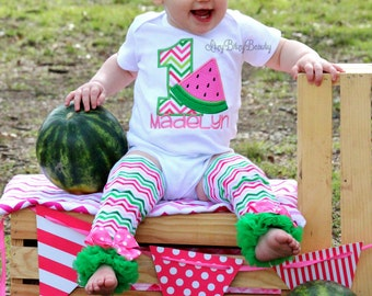 Girls Watermelon Birthday Outfit - ANY AGE - Watermelon First Birthday - Leg Warmers , Headband ,  - Pink And Green - Personalized - Set