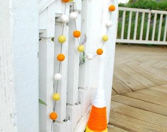 Halloween Candy Corn Felt Ball Garland, Pom Pom Garland, Bunting Banner, Party Decor