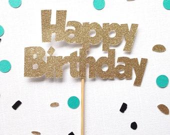 Happy Birthday Glitter Cake Topper - Personalized Name Glitter Cake Topper - Birthday Decor - Custom Cake Topper