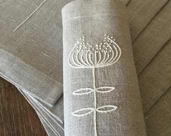 Linen Placemats Set of 6 Hand Embroidery Linen Table Linen Table Top Fabric Placemats