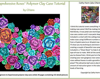 Comprehensive Roses polymer clay cane tutorial by CHarm