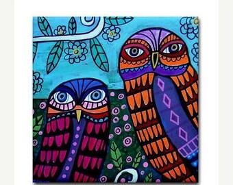 50% SALE- Owl Bird Art Tile Ceramic Coaster Print of Painting by Heather Galler (HG733)