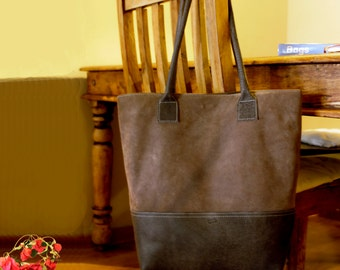 Sale!!! Brown Leather tote bag - Brown nubuck Leather Bag, Handmade leather bag by Limor Galili !