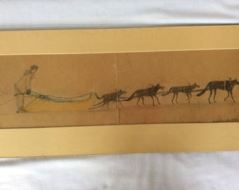 Authentic signed 1960 Inuit drawing scene of winter ride on the ice
