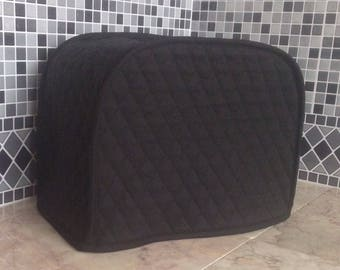 Black 2 Slice Toaster Quilted Fabric Cover Small Appliance Made To Order