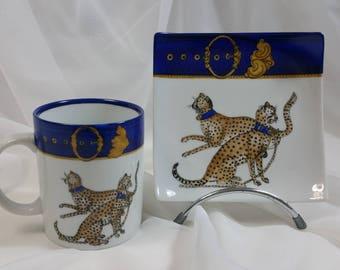 """mug and saucer made in """"royal hunting"""" theme set"""