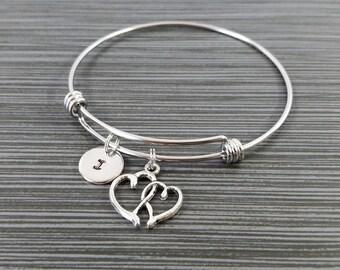 Heart Bangle - Heart Charm Bracelet - Expandable Bangle - Love Charm Bangle - Heart Bracelet - Initial Bracelet - Gifts Under 20