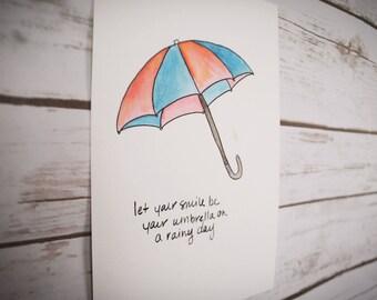 Umbrella Art, Umbrella Painting, Watercolor Art, Wall Art, Office Art, Watercolor Painting, Motivational Art - Let Your Smile