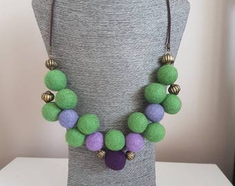 Green and Purple Felted Necklace