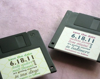 Floppy Disk Save the Date Label - Geek Chic - Fun Clever Save the Date Idea