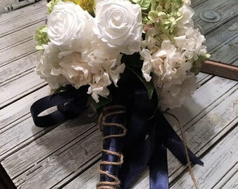 Lovely Forever Freeze Dried Bridesmaid Bouquet White Roses and Hydrangea