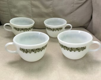 1970s Vintage Pyrex Coffee Cups in Spring Blossom Pattern, Set of Four