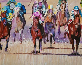 2015 KENTUCKY DERBY -  giclee print 12 x 18 inches from original acrylic painting, American Pharaoh triple crown winner, home stretch