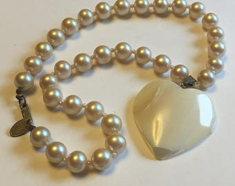 Miriam Haskell pearls with mother of pearl heart pendant  VJSE