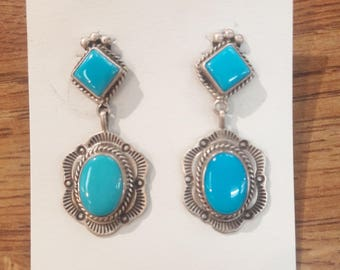 Native American Navajo Handmade Sterling Silver Channel Inlay Turquoise Earrings